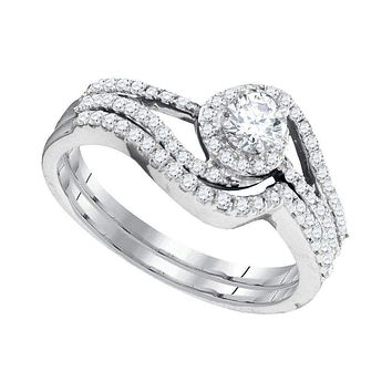 10kt White Gold Women's Round Diamond Swirl Bridal Wedding Engagement Ring Band Set 1/2 Cttw - FREE Shipping (US/CAN)