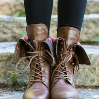 Walk My Way Combat Boots, Brown