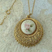 Openwork Filigree Basket Pendant Necklace Rose Cabochon Vintage Floral Jewelry
