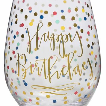 Happy Birthday Jumbo Stemless Wine Glass