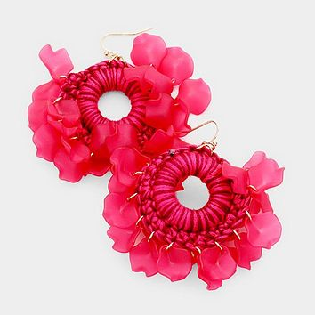 Floral Thread Warp Round Dangle Earrings