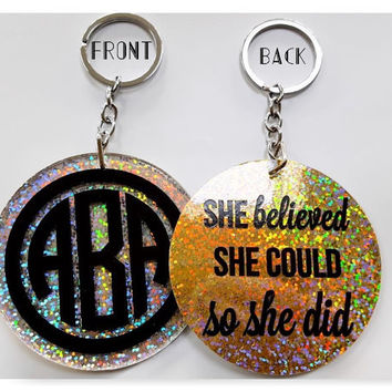 Keychain - Monogram keychain - Personalized Keychain - Custom Keychain - Gift for Her - Bridesmaid Gift - Best Friend Gift