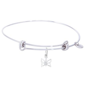 Sterling Silver Balanced Bangle Bracelet With Butterfly Charm