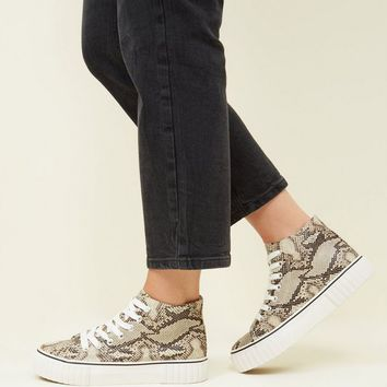 Black Snake Print Chunky High Top Sneakers | New Look