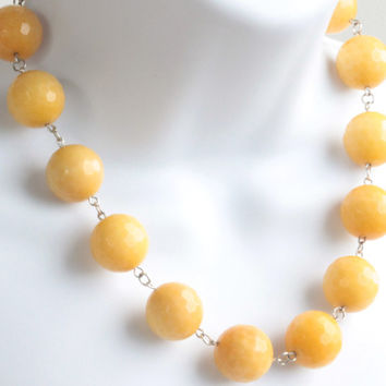 Huge Yellow Beaded Necklace