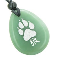Lucky Wolf Paw Kanji Good Luck Amulet Green Quartz Pendant Necklace