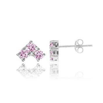 Three Stone Light Pink CZ Triangle Stud Earrings in Sterling Silver