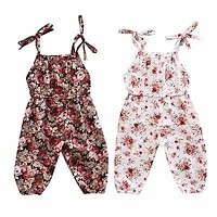 Summer Newborn Baby Girls Clothes Flower Print Romper Jumpsuit Belt Shoulder Sun-suit Clothing 0-3T