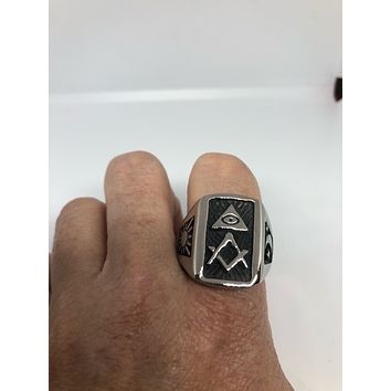 Vintage 1980's Gothic Stainless Steel Free Mason G Men's Ring