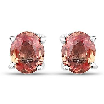 Natural .76TCW Oval Cut Sunset Pink Orange Sapphire Stud Earrings