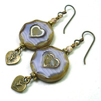 Czech Gold-washed Lilac Picasso Heart, Bronze Niobium, Dangle Earrings
