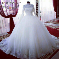 High Neck Long Lace Sleeves Tulle Ball Gown Vintage Muslim Wedding Dress Pearl Beaded Royal Train