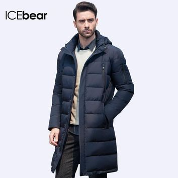 ICEbear New Clothing Jackets Business Long Thick Winter Coat Men Solid Parka Fashion Overcoat Outerwear 16M298D
