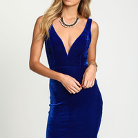Velvet Plunge Bodycon Dress