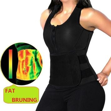 NINGMI Women Hot Shirt Waist Trainer Corset Neoprene Bodyshape Body Shaper Vest Tank Top Sweat Sauna Suit Blouse Weight Loss Zip