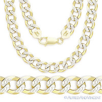 Cuban Curb Sterling Silver 14k Yellow Gold Men's 8mm Link Italian Chain Necklace