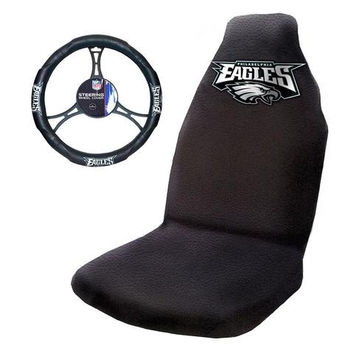Philadelphia Eagles Car Seat Cover and Steering Wheel Cover Set