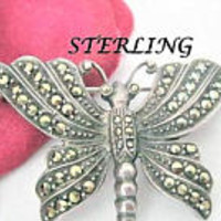 Sterling Marcasite Butterfly, Silver Butterfly, Butterfly Signed  925, 70's Brooch