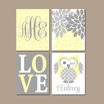 Owl Nursery Wall Art, YELLOW GRAY Owls, Baby Girl Monogram Decor, Bedroom Pictures, Love Flower Burst Canvas or Prints  Set of 4 Wall Decor