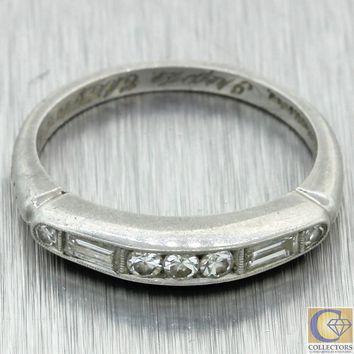 1920s Antique Art Deco Estate Platinum .20ct Baguette Diamond 3mm Wedding Band R