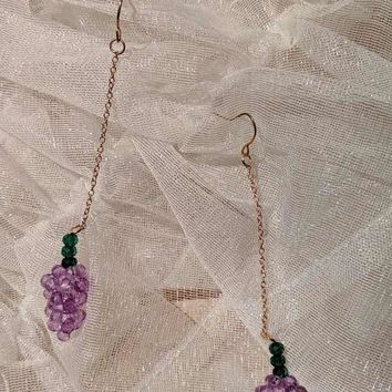 Crystal Beaded Grape Earrings