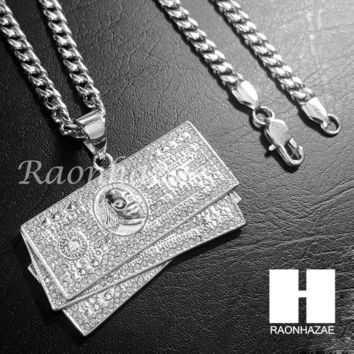 Iced Out 316L Stainless steel Silver  Benjamin $100 Bill 5mm Cuban Chain S12