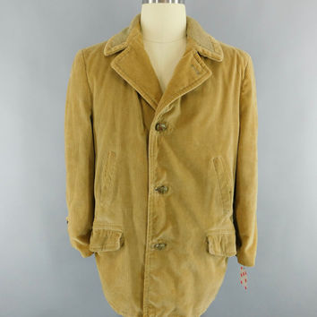 Vintage 1970s Coat / 70s Men's Car Coat / Corduroy Jacket / Tan Corduroy Jacket / Lumberjack / Sears Vintage Menswear / 42 R