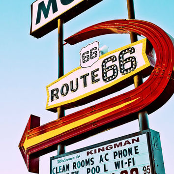 Neon Sign Photo, Route 66 Sign, Vintage Motel Sign, Vintage Neon Sign, Mid Century Modern, Retro Sign, Motel Sign, Neon Sign Photography