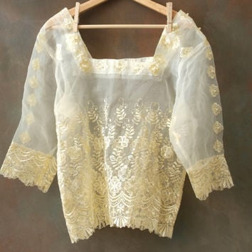 Sheer Womens Top with Embroidery and Beading, Antique White, Women's M / L