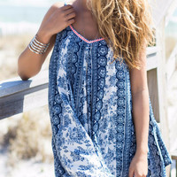 Sand Dune Dreams Navy Paisley Print Dress