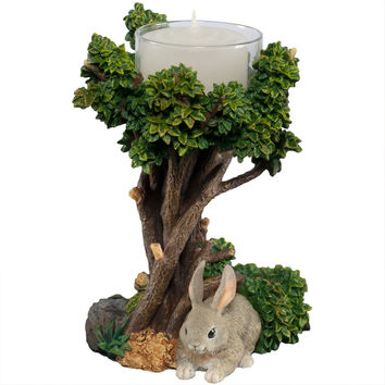 Cottontail Bunny Under A Tree Tealight Candle Holder