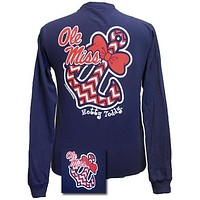 SALE Mississippi Ole Miss Chevron Anchor Bow Girlie Bright Long Sleeves T Shirt