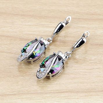 Rainbow 925 Silver Cubic Dangle Earrings