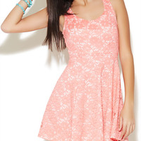 Heart Cutout Lace Skater Dress | Wet Seal