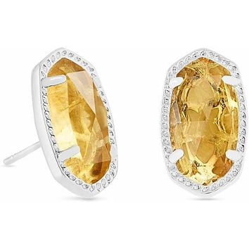Kendra Scott: Ellie Silver Stud Earrings In Citrine
