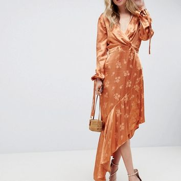 ASOS DESIGN Soft Floral Jacquard Midi Dress With Asymmetric Hem at asos.com