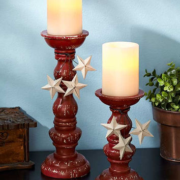 Country Barn Star Candle Holder Sticks Set Red Black Vintage Rustic Distressed Pillar