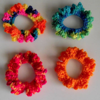 Crochet Hair Scrunchies--- Bright Colors ---Set of 4