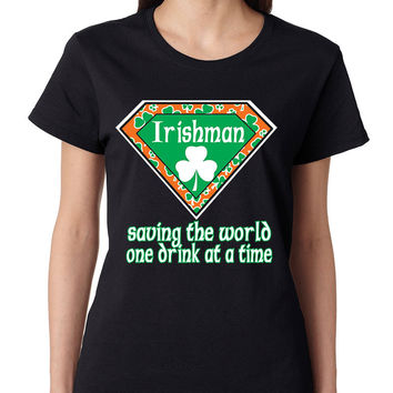 irishman saving the world st patricks women t-shirt