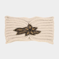 Women's Beige Knit Ear Warmer Headband Head Wrap with Beautiful Beaded Applique Winter Hats Winter Accessories Headbands
