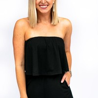 Nonstop Comfort Strapless Romper in Black