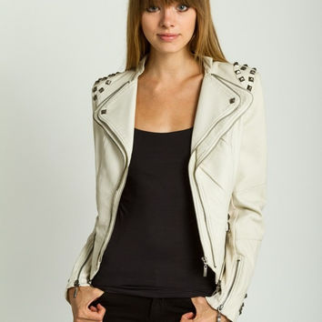 Studded Shoulder Moto Jacket