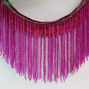YACKALASI Beaded Fringe Tassel Lace Crystal Beads Strings Latin Dress Dance Wear Macrame Trimming Tassel Gold And Silver 5-20CM