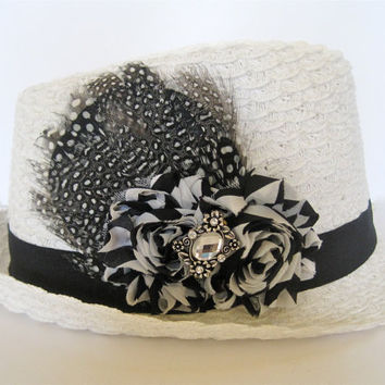White Packable Feather Fedora  Hat with Black and White  Chiffon  Flower and Rhinestone Accent