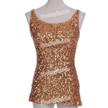 PrettyGuide Hot Women Bling Bling Shimmer Shine Glam Sequin Embellished Crewneck Sparkle Tank Club Top Vest Tops 9 Colors