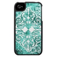 iPhone 4 Case Personalized Vintage Damask Blue