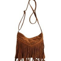 Tan Studded Fringe Satchel