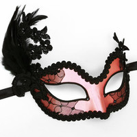 Pink And Black Embroidery Masquerade Mask  -  Venetian Style Feather Mask Covered With Satin & Lace - For Masked Ball, Prom, Costume Party