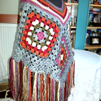 Crochet Big Poncho Granny Square Poncho Kaleidoscope Hippie Style Cape Bohemian Sweater Women Winter Clothing Fashion Accessories Gift Ideas