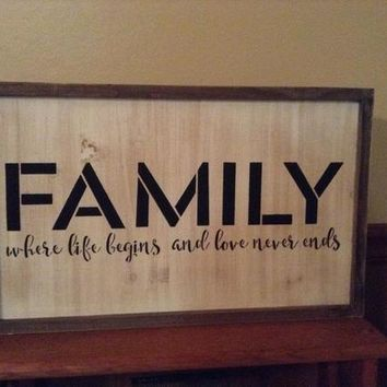 Rustic Country Farmhouse Decor, Living Room Decor, Kitchen Sign, Framed Wall Art, Family Where Life Begins And Love Never Ends Sign